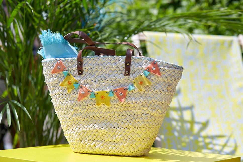 fabriquer sac en osier fanion pour la plage