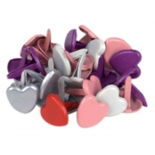 Attaches parisiennes (brads) Coeur multicolores 1 cm x25