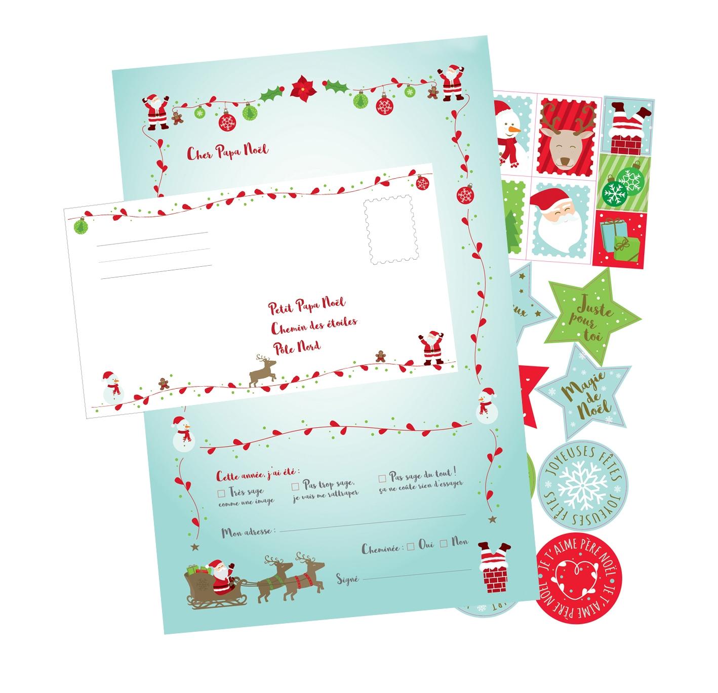 Lettre Pour Le Pere Noel.Set De Papier à Lettre Pour Le Père Noël 6 Pièces