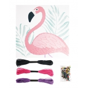 Tableau de fil tendu String Art Flamant rose 21 x 21 cm