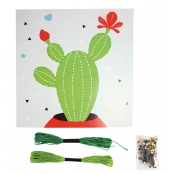Tableau de fil tendu String Art Cactus 21 x 21 cm