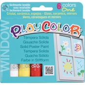 Gouache solide PlayColor 6 pcs + pochoirs Animaux
