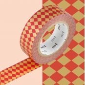 Masking Tape MT 1,5 cm Carreaux rouge & or