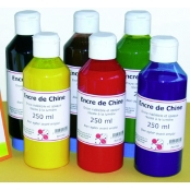 Encre de Chine Lot de 6 flacons 250 ml Assortiment