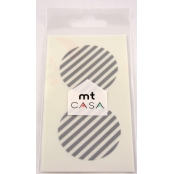 Masking Tape MT Casa Seal Sticker rond en washi Rayé argent