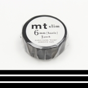 Masking Tape MT Slim 6 mm Set de 3 - uni noir - matte black
