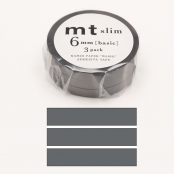 Masking Tape MT Slim 6 mm Set de 3 - uni gris - matte gray