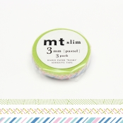 Masking Tape MT Slim 3 mm Set de 3 pastel