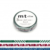 Masking Tape MT Slim 3 mm Set de 3 Lignes & Pois - dull tone