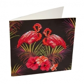Carte à diamanter Strass Crystal Art Flamant Rose 18 cm
