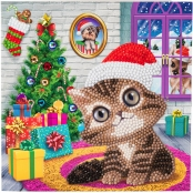 Carte à diamanter Strass Crystal Art Noël Chaton 18 cm