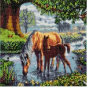 Tableau Strass Diamant Crystal Art Chevaux 30cm