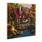 Tableau Strass Diamant Crystal Art Cottage 40x50cm