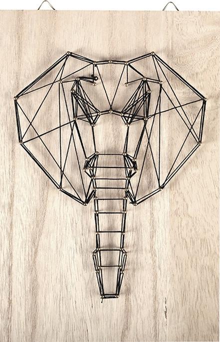Tableau de fil tendu String Art Éléphant 20x30cm Déco