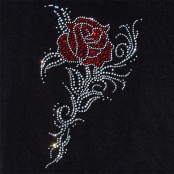 Transfert thermocollant clou & strass Rose Tribale 15x25 cm