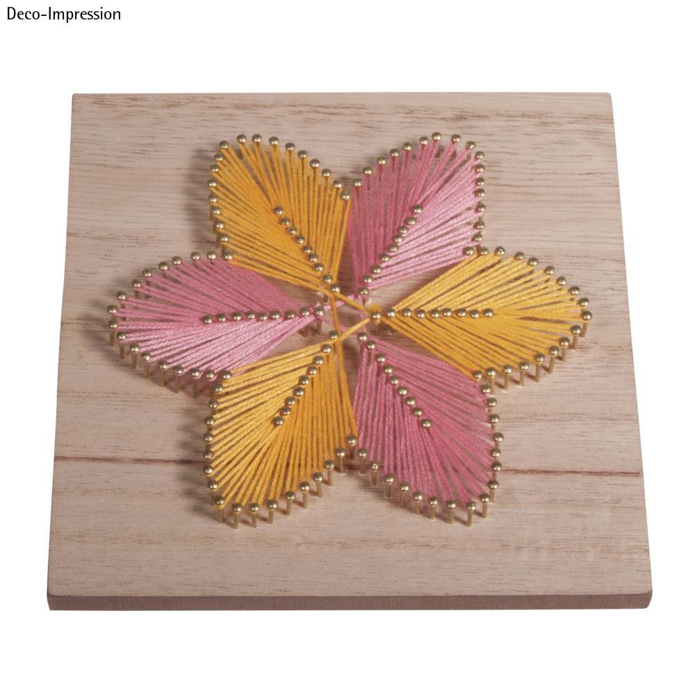 Tableau Fils Et Clous tableau bois à clouer string art tableau de fil tendu fleur