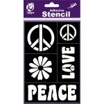 Pochoir adhésif Peace'n love 12x18 cm