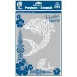Pochoir adhésif pour tissu Dauphin maori A4