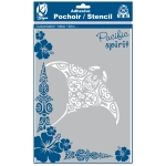 Pochoir adhésif pour tissu Grande raie manta maori A4
