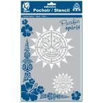 Pochoir adhésif pour tissu Soleil maori A4