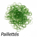 300 élastiques Loom Vert pailleté