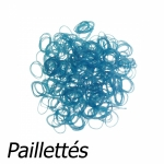 300 élastiques Loom Bleu pailleté